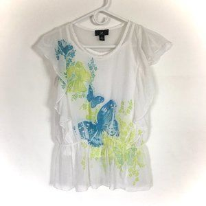 IZ Layered Shirt/Top Butterfly White/Green/Blue M